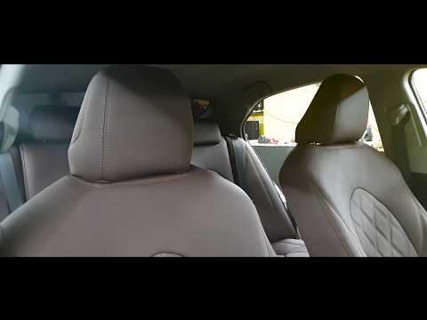 """Чехлы на Toyota Camry 70, серии """"Aurora"""" коричневые с ромбами, коричневая строчка"""