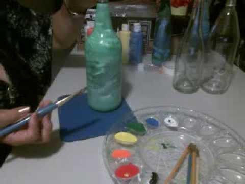 como pintar y decorar una botella de vidrio artemania por artemaria