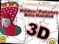 Moldes Patrones Bota Calcetín Navidad Santa Claus 3D - YouTube
