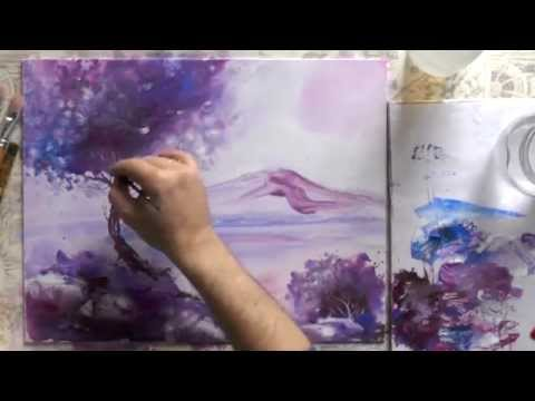 Нарисовать цветы ирисы акриловыми