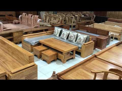 Sofa gỗ Gõ Đỏ góc L hiện đại 2m44x2m