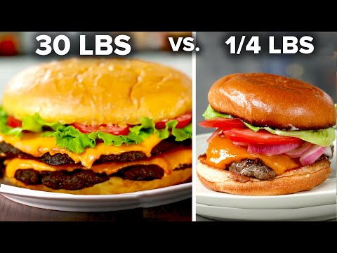 Giant 30 Pound Burger Vs. 1/4 Pound Burger • Tasty