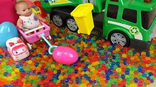 Let's play with Dirt cart car and Baby doll Surprise eggs orbeez and color candy Kinder Joy toys with Poli Pororo Enjoy...