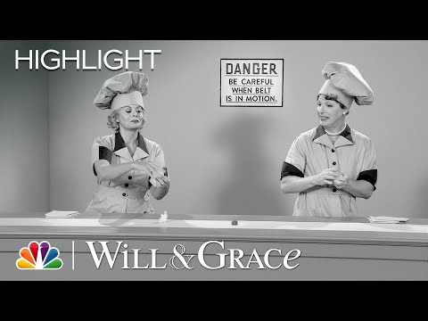 Jack and Grace Reenact I Love Lucy's Chocolate Factory Scene - Will & Grace
