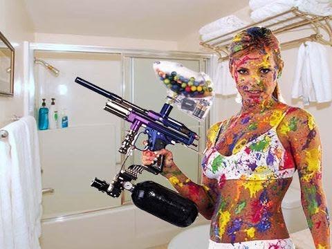Girlfriend Paintball In Shower