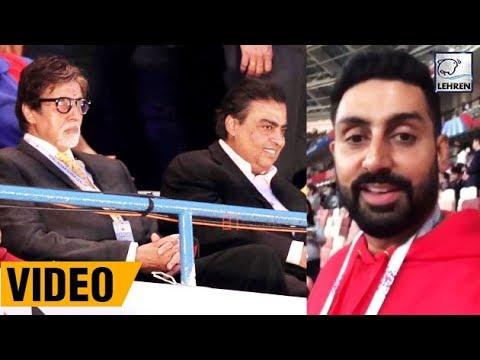 Abhishek, Amitabh And Mukesh Ambani Watching FIFA