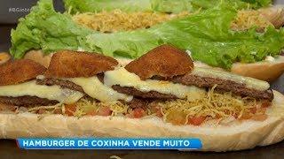 Comerciante inova e cria hambúrguer de coxinha