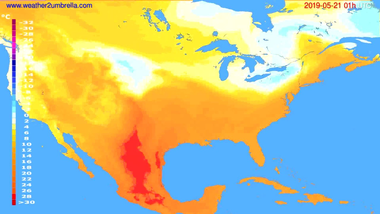 Temperature forecast USA & Canada // modelrun: 00h UTC 2019-05-19