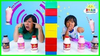 Twin Telepathy Milkshake Challenge Ryan vs Mommy!!!