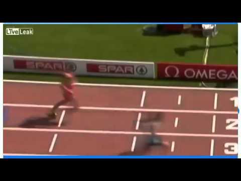 Pha gãy chân không tưởng tại đường chạy 100m