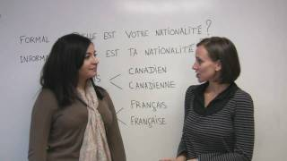 In this French lesson, Sophie explains how to ask someone about nationality and state your own. Both formal and informal situations are covered. Includes a sample conversation with Sonia. Presented by Diplomat Language School in Toronto, Canada.