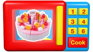 Learn to count numbers 1 to 6 with this amazing animated toy microwave and toy food desserts which include chocolate chip cookie, gingerbread man, strawberry birthday cake, cupcakes and cream birthday cake.