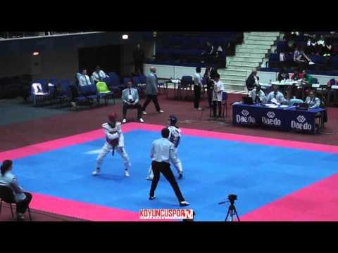 58kg Quarterfinal Aliu, Egers (ALB) vs (SWE) Lindstrom, Frederic (-21 European TKD Champions 2015) (видео)