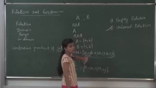 Mathematics, Class:XII Chapter:Relations and functions Topic:Types of Relations Classroom lecture By Swati Mishra. Language : English mixed with Hindi.