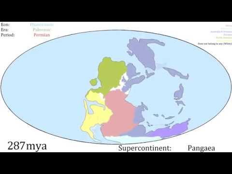 3.3 Billion years of continental drift animated into 4 minutes of fascination, from the first landmass to today.