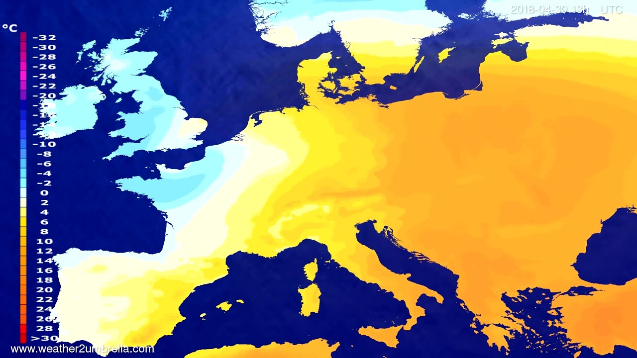 Temperature forecast Europe 2018-04-27