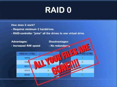 RAID 0 - One thing I forgot to include in the video is how the capacity of the RAID-array is calculated. The total capacity of the array is: n x cs = tc n = number of...