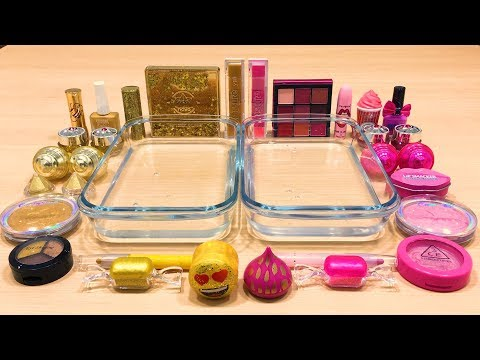 PINK Vs GOLD  Mixing Makeup Eyeshadow Into Clear Slime ! Special Series #38 Satisfying Slime Video
