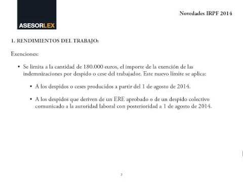 Novedades IRPF 2014, a declarar en 2015
