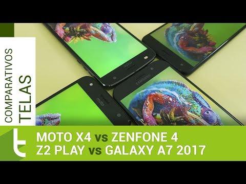 Moto X4, Zenfone 4, Galaxy A7 2017 e Z2 Play  Comparativo de telas do TudoCelular