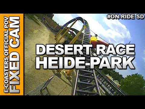 Pustynny Wyścig On-Board Video of the rollercoaster 'DESERT RACE' to the Amusement Park 'Heide-Park' (Soltau, Germany).
