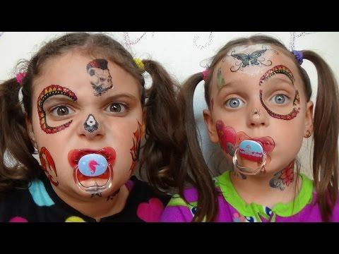 Bad Baby Face Tattoo Fail Victoria & Annabelle Toy Freaks Family