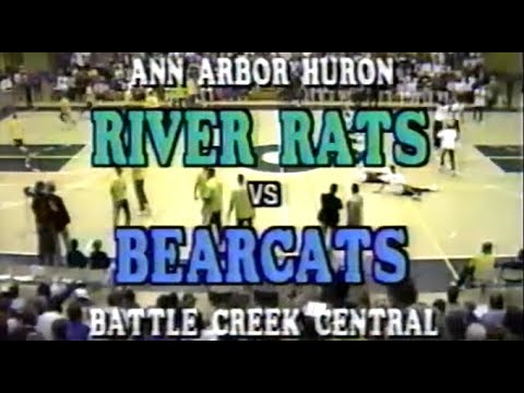 1989 Battle Creek Central vs Ann Arbor Huron High School Basketball Quarterfinal FULL GAME
