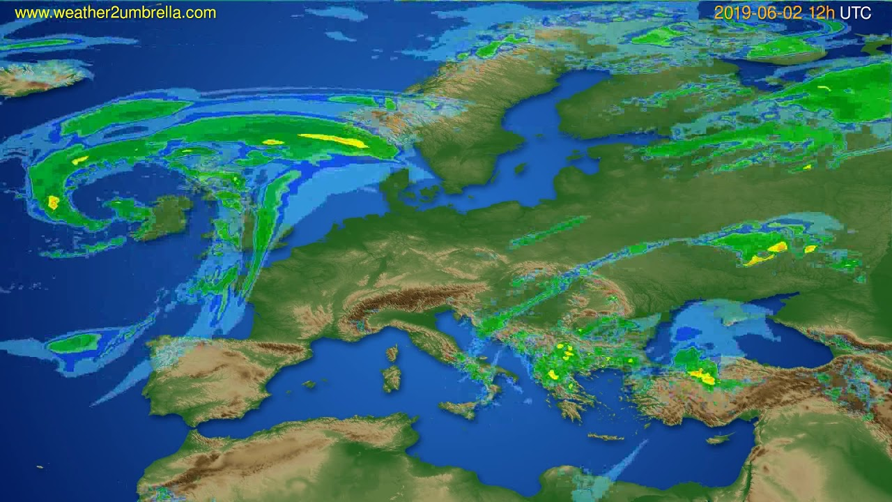 Radar forecast Europe // modelrun: 00h UTC 2019-06-02