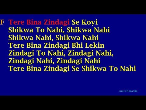 Tere Bina Zindagi Se Koyi - Kishore-Lata Duet Hindi Full Karaoke With Lyrics (Reuploaded)