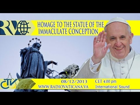 conception - Pope Francis pays homage to the Statue of the Immaculate Conception with the Roman faithful.