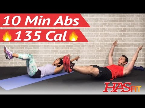 10 Minute Ab Workout At Home - 10 Min Abs Workout For Men & Women - Ten Abdominal Exercises