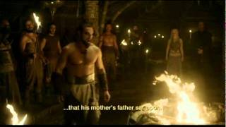 The scene of Khal Drogo's 'gift' to Rhaego in season 1 episode 7 of the 'Game of Thrones' series by HBO, based on George R. R. Martin novels, A Song of Ice ...