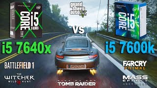 i5 7640x vs i5 7600k Test in 7 Games (GTX 1060)Games:Project Cars The Witcher 3 - 01:19Battlefield 1 - 02:50Mass Effect Andromeda - 04:16Rise of the Tomb Raider - 05:35Grand Theft Auto V - 07:11Far Cry Primal - 09:17System: Windows 10Intel i5 7600k 3.8GhzAsus Z170-PRAM 2400MhzIntel i5 7640x 4.0GhzASUS TUF X299RAM 2666MhzGTX 1060 6Gb16Gb RAM