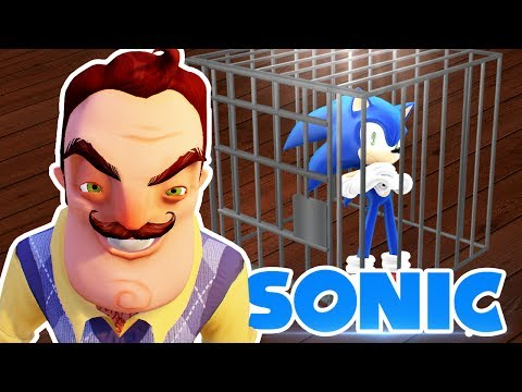 MINECRAFT | HELLO NEIGHBOUR TRAPS SONIC & HIS GOLD RINGS IN THE BASEMENT!! (видео)