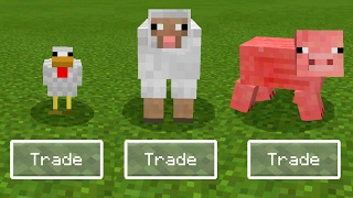 HOW to TRADE with ANIMAL Mobs in Minecraft Pocket Edition!!! (Animal Trading Addon)