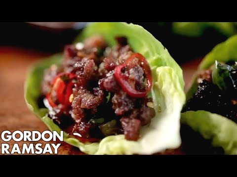 gordon - This dish is fun to make and eat, perfect for parties. Spicy mince, seasoned beautifully, crisped up and served in lettuce wraps. Subscribe for weekly cookin...