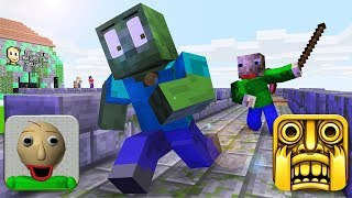 Monster School : BALDI'S BASICS and TEMPLE RUN Challenge - Minecraft Animation