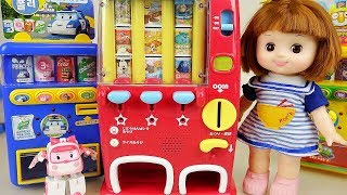 Baby doll and Disney drinks and Poli vending machine toys play