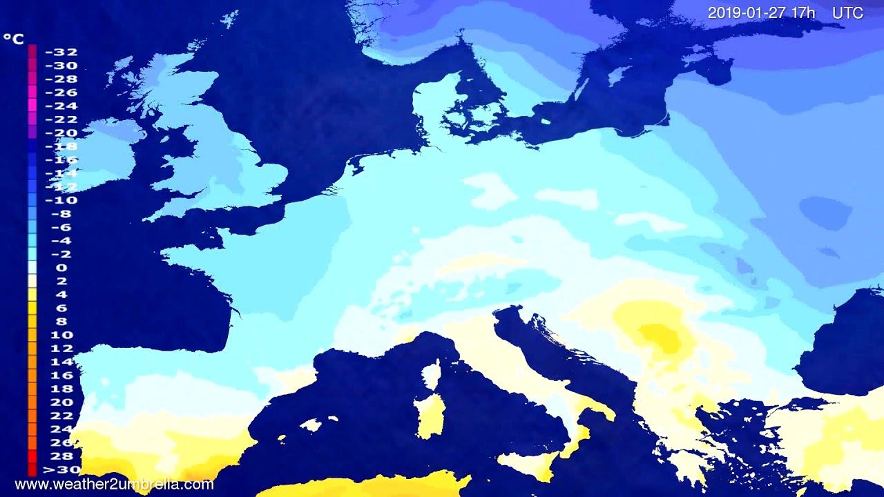 Temperature forecast Europe 2019-01-25
