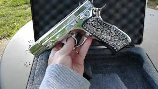 Just added custom pearl inlay grips. Not made for shooting alot just for looks. If you want to shoot it alot I recommend the rubber grips. Very accurate pistol. Very few pistol even come close if any that are a tie.