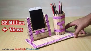 Homemade Pen stand and Mobile phone holder with ice cream sticks