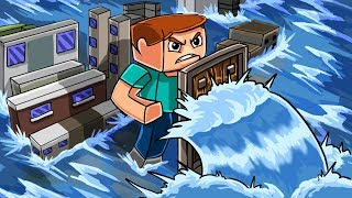 Minecraft | GIANT TSUNAMI BASE CHALLENGE - Micro City! (Tsunami vs Tiny Base)