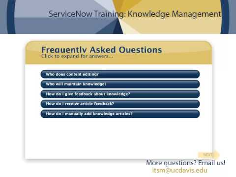 ServiceNow: Knowledge Management Training