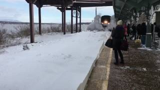 Train moving faster than usual plus fresh snow from Stella resulted in a more spectacular arrival than expected. * Jukin Media Verified * Find this video an...