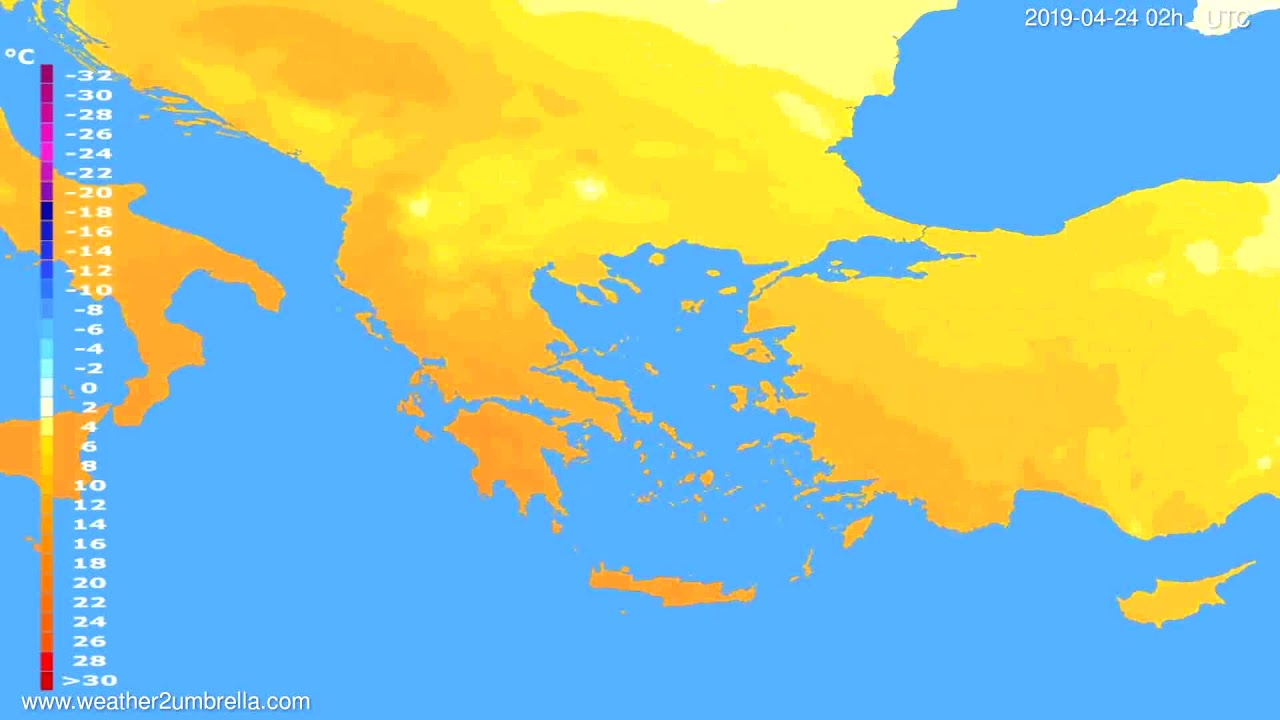 Temperature forecast Greece // modelrun: 00h UTC 2019-04-21