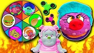 Trolls Spin The Wheel Game PlayDoh Drill N Fill Bergen Chef, Fidget Spinners Poppy, Branch, DJ Suki! Video