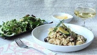 Risotto mit Zucchini, Pilzen und Speck
