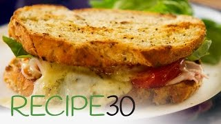 The Best Toasted Cheese and Ham Sandwich, Italian style with tomato and basil