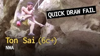 Quick draw fail on Gibbons Roof, Ton Sai - NWA (6c+) by Average Climber