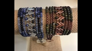 Join me on Facebook:http://www.Facebook.com/BronzeponyBeadedJewelryMaterials: For up to a 21 inch wrap bracelet: 24 - AVA Beads - Capri Gold or Aluminum168 + - 4mm Gemstone beads - Dragon's Blood Jasper or Sodalite144+ 6/0 seed beads (Copper lined Amethyst) or another 4mm Gemstone Bead42 - O Beads - Copper/Bronze or Aluminum11/0 Seed Beads - Toho Copper or Miyuki Dark Nickel Silver10 lb Fireline or Wildfire Beading ThreadSize 10 beading NeedleClasp of your choice - Tierracast Hammered Square - Copper or Silver